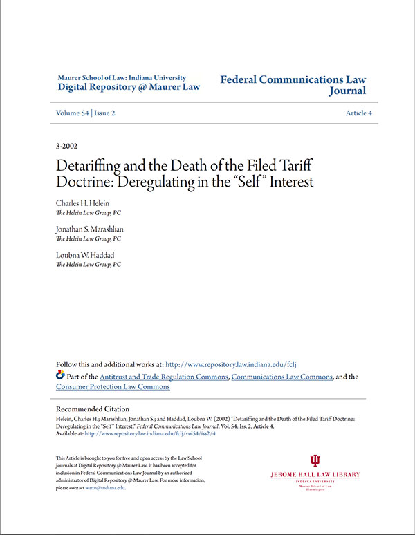Law Review: Detariffing and the Death of the Filed Tariff